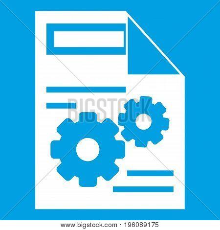 Web setting icon white isolated on blue background vector illustration