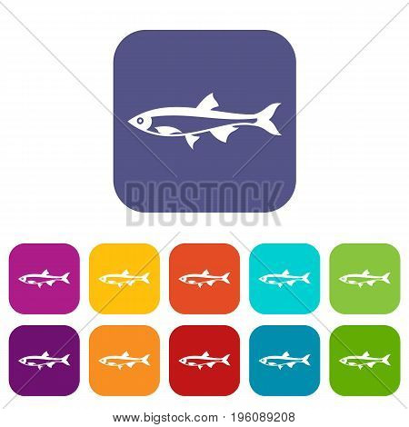 Herring fish icons set vector illustration in flat style in colors red, blue, green, and other