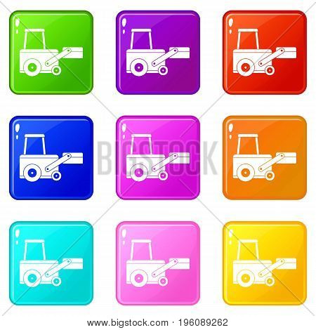 Truck to lift cargo icons of 9 color set isolated vector illustration