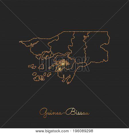 Guinea-bissau Region Map: Golden Glitter Outline With Sparkling Stars On Dark Background. Detailed M