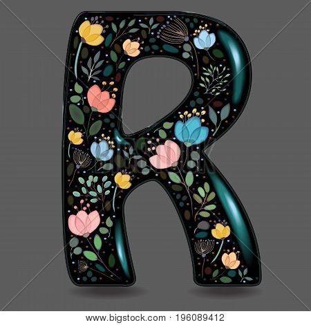 Letter R with Floral Decor. Black glared symbol. Colorful graceful flowers plants and blurs with watercolor effect. Gray background. Vector Illustration