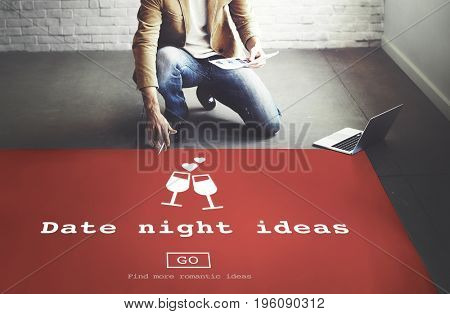Date Night Ideas Valentine Romance Heart Dating Concept