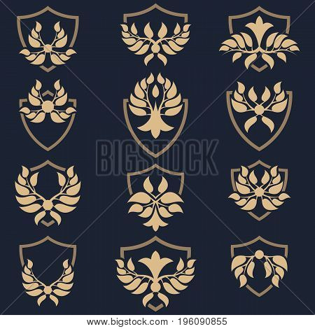 Set of abstract shield insignia. Template shield emblem.