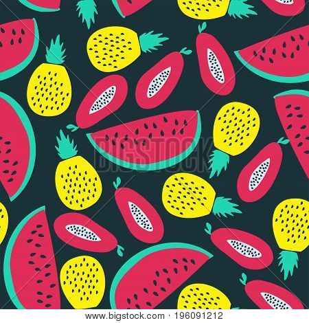 Bright seamless pattern with colour fruits. Vector.