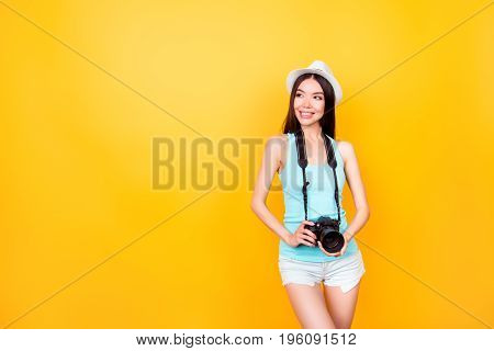 Cute Asian Teen Photographer On Summer Vacation. She Is Holding Camera, Wearing Summer Casual Outfit