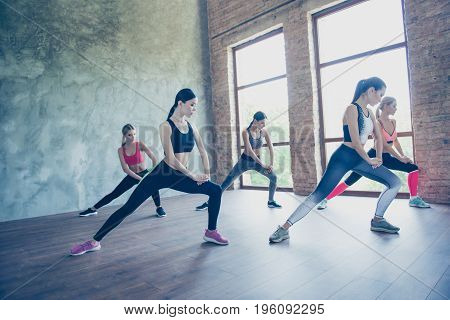 Stretching Hips Muscles Ladies. Five Young Slim Sportswomen Are So Bendy And Flexible, Wearing Trend