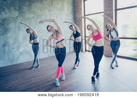 Five Young Fashionable Sportswomen Are Stretching, So Bendy And Flexible, Wearing Trendy Sport Outfi