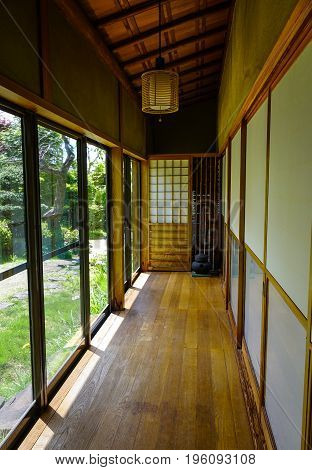 Wooden Lobby At A House In Akita, Japan