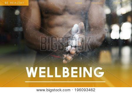 Wellbeing healthy and fitness bodybuilding