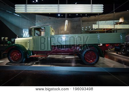 STUTTGART GERMANY- MARCH 19 2016: The diesel platform truck Mercedes-Benz Lo 2000 1932. Mercedes-Benz Museum.