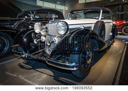 STUTTGART GERMANY- MARCH 19 2016: Luxury car Mercedes-Benz 540K (W24) Cabriolet B 1937. Mercedes-Benz Museum.