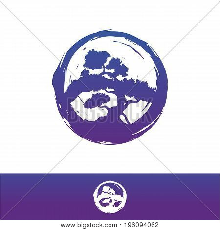 Bonsai vector logo design illustration. Silhouette of a bonsai on a white background. Vector illustration eps8. eps10