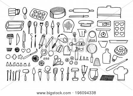 Baking tools and essentials. Hand drawn bakery supplies. Line vector kitchen utensils icon set. Bakeware needs.