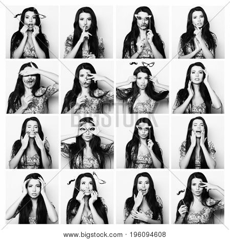 Collage of woman different facial expressions. Black and white picture.
