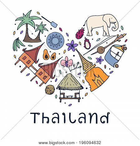 Hand Drawn Symbols Of Thailand. Vector Illustration.