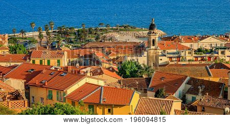 The Bay And The Old Town Of Menton On The French Riviera