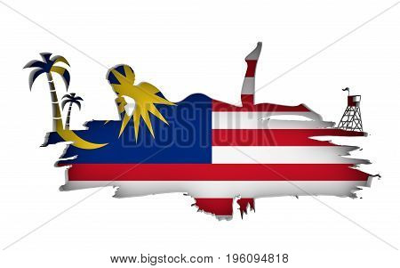 Young woman sunbathing on a beach. Cutout silhouette of the relaxing girl on a grunge brush stroke. Palm and lifeguard tower. Flag of the Malaysia on backdrop. 3D rendering.