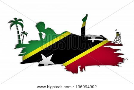 Young woman sunbathing on a beach. Cutout silhouette of the relaxing girl on a grunge brush stroke. Palm and lifeguard tower. Flag of the Saint Kitts on backdrop. 3D rendering.