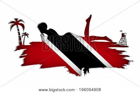 Young woman sunbathing on a beach. Cutout silhouette of the relaxing girl on a grunge brush stroke. Palm and lifeguard tower. Flag of the Trinidad on backdrop. 3D rendering.