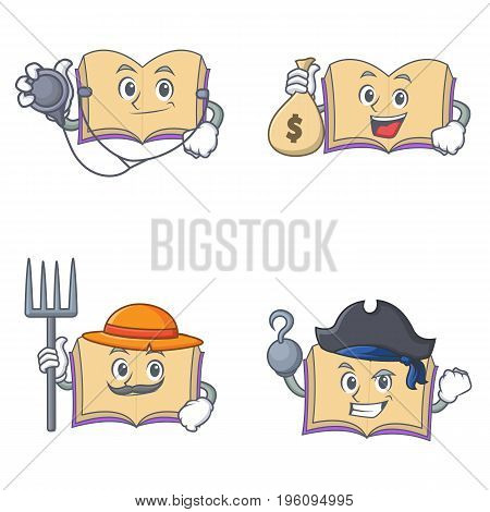 Set of open book character with doctor money bag farmer pirates vector illustration