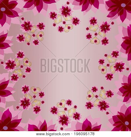 Decorative pink color floral square background with hearts. Can used as print for textile neckerchief shawl or wrapping paper