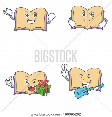 Set of open book character with proud smirking gift guitar vector illustration