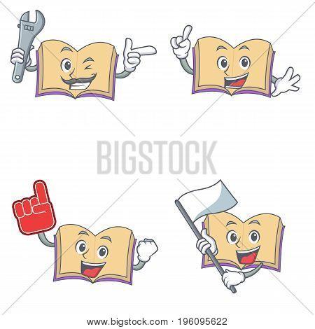 Set of open book character with mechanic foam finger flag vector illustration