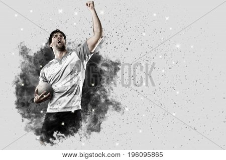 Rugby Player Coming Out Of A Blast Of Smoke.