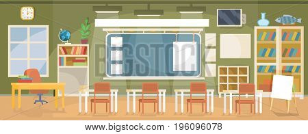 Vector flat illustration of an empty classroom in a school, university, college, institute with a blackboard, desks, chairs, bookshelves and empty banners for text