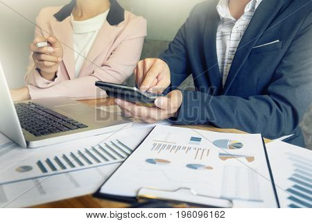 Administrator Business Man Financial Inspector And Secretary Making Report, Calculating Or Check Bal