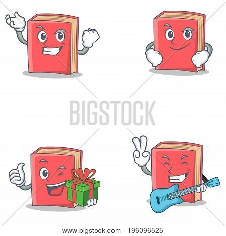 Set of red book character with successful smirking gift guitar vector illustration