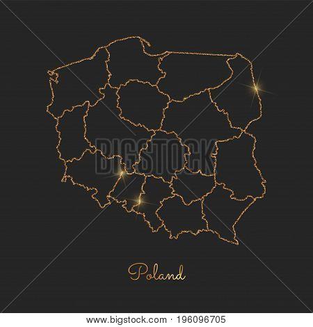 Poland Region Map: Golden Glitter Outline With Sparkling Stars On Dark Background. Detailed Map Of P