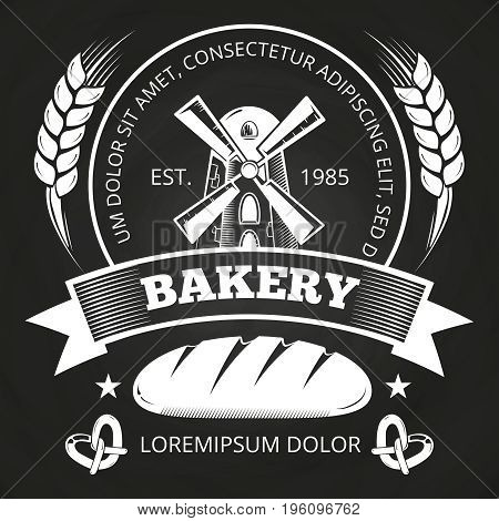 Bakery house or shop label design with bread, mill and wheat - bakery emblem on blackboard. Vector illustration