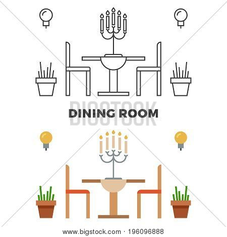 Dining room concept - flat style and line style dining room. Vector illustration