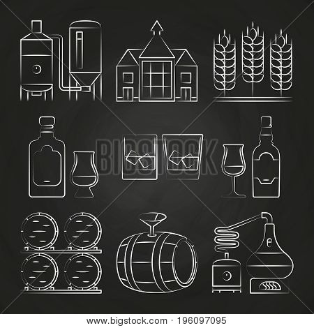 Whiskey process and icons on chalkboard. Distillery whiskey, vector illustration