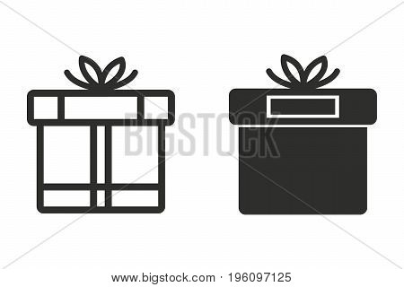 Gift Box vector icon. Black illustration isolated on white background for graphic and web design.