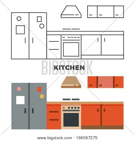 Flat kitchen concept isolated on white background. Kitchen furniture, vector illustration