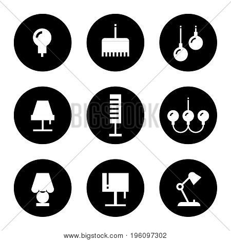 Lighting flat icons - lamps, sconce and floor lamps. Set of lamp icons monochrome. Vector illustration
