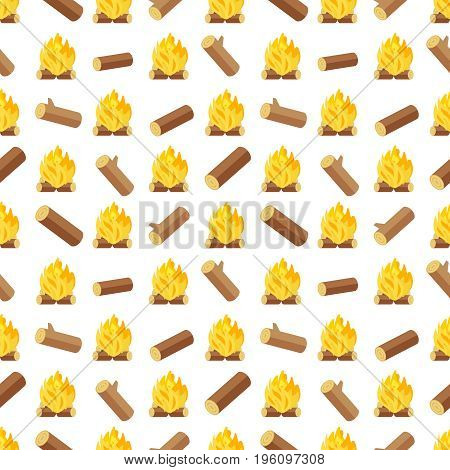 Wood logs and bonfires seamless pattern. Background with bonfire or campfire, vector illustration