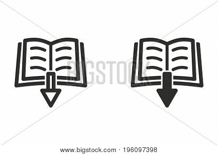 Add book vector icon. Black illustration isolated on white background for graphic and web design.