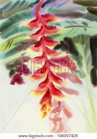 Abstract watercolor original painting red color of heliconia flower and green leaves in sky background.