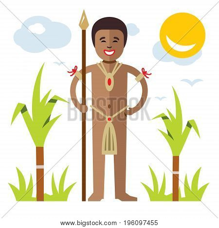 Warrior with spear. Isolated on a white background