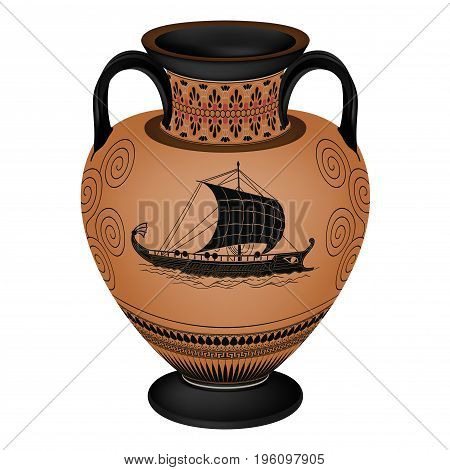 Set of silhouettes of vintage Greek vases with national ornaments isolated on white background.