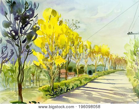 Watercolor painting original landscape yellow color of golden tree flowers in sky and cloud background