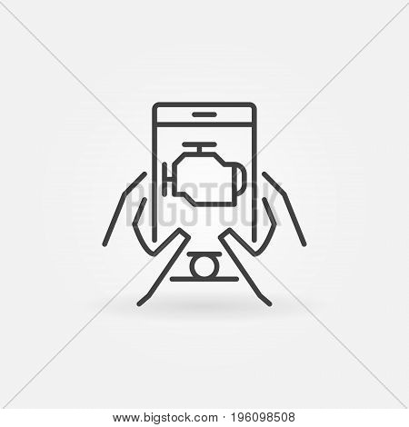 Car engine diagnostics via smart-phone vector icon or design element in thin line style