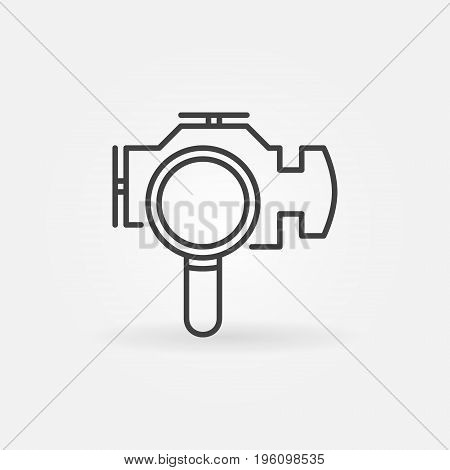 Check engine with magnifying glass icon - vector engine diagnostics or fault code identification outline sign