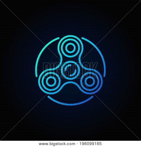 Vector fidget spinner blue icon - minimal hand spin toy symbol in thin line style on dark background