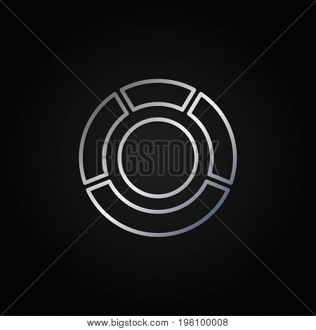 Circle diagram silver icon. Vector outline pie chart bright sign or logo element on dark background