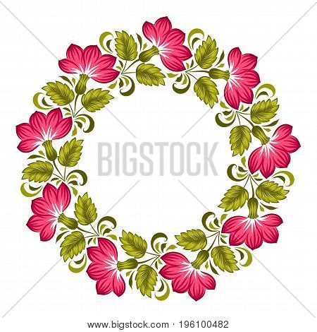 Floral background in ukrainian national style. Petrykivka painting. Vector Illustration