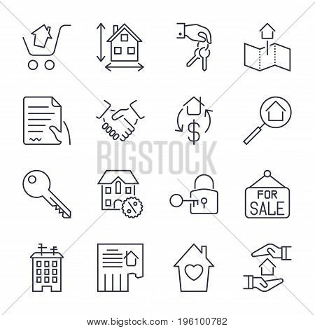 Real Estate. Set Of Outline Vector Icons. Includes Such As Property, Building, Apartment And Other.